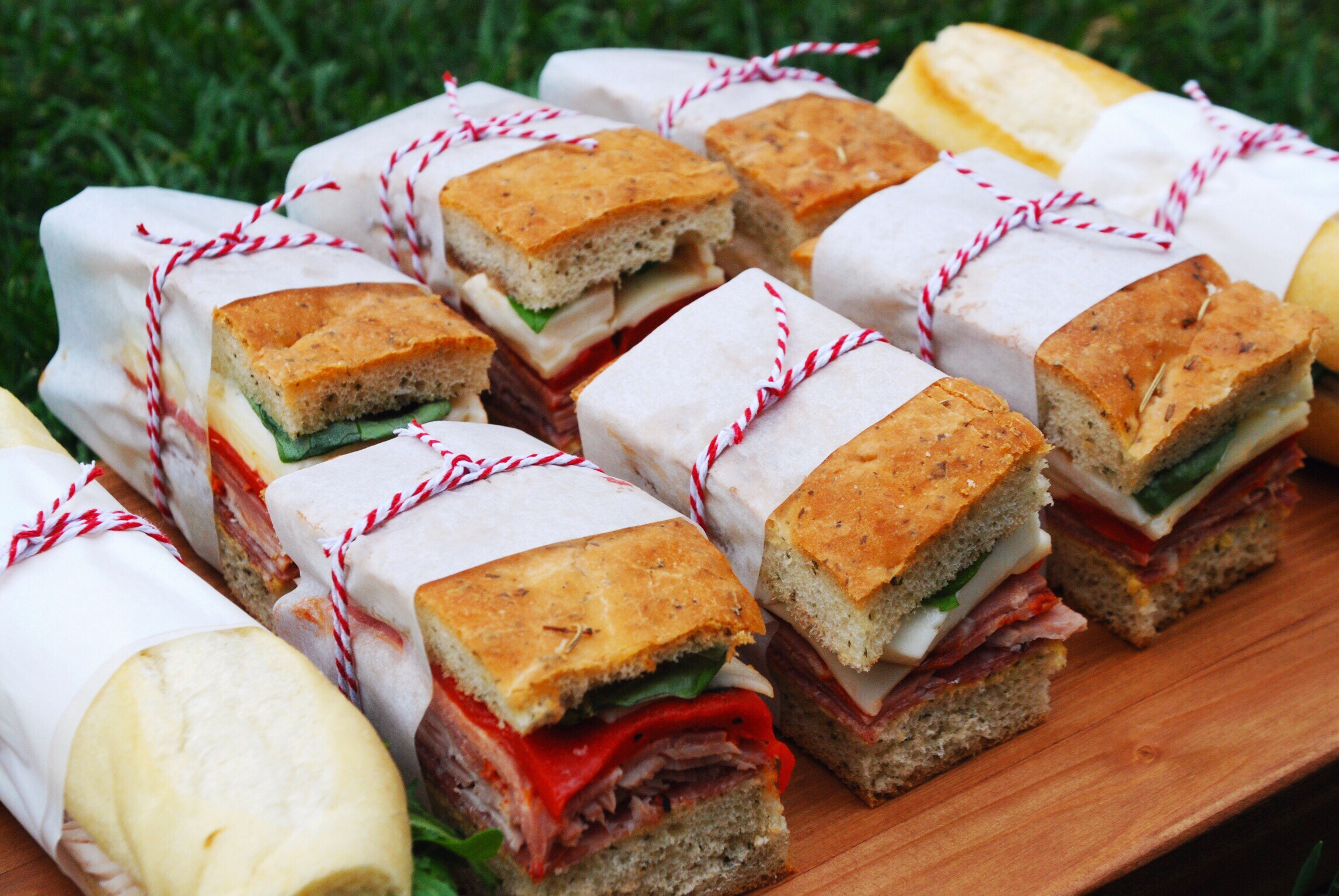 Individually wrapped picnic sandwich